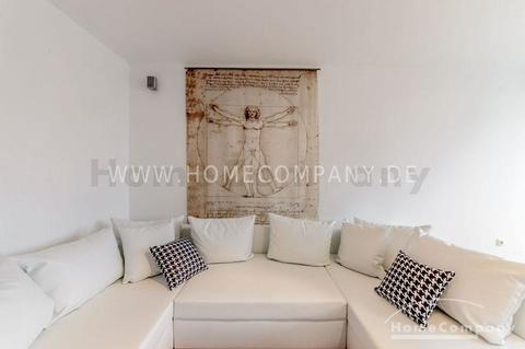 Wohnzimmer Elegante, möblierte 2-Zimmer-Wohnung mit Balkon, München- Schwanthalerhöhe
