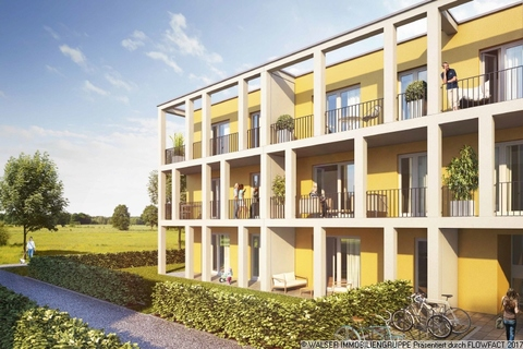 Außenansicht mit Blick ins Grüne Ihr neues Zuhause – Wohnoase im Grünen: Wunderschöne 4-Zimmerwohnung in Vaterstetten