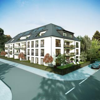 Ansicht 02 - Illustration Neubau - hochwertige EG-Wohnung mit Westterrasse und Garten