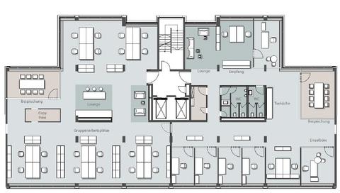 Ausbaubeispiel Kombibüros STOCK - Büroflächen mit Ausblick