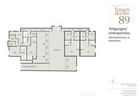 Tiefgaragenplan Exklusives Penthouse mit 2,5 Zimmern, Dachspitz und Dachterrasse