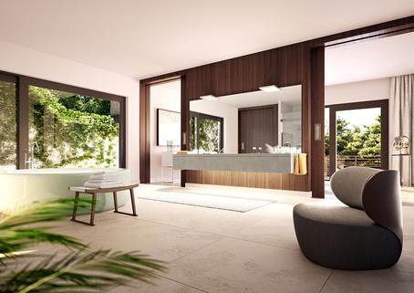 Visualisierung Badezimmer Luxus am Mondsee!<br /> Villa mit Rooftop-Pool und spektakulären Aussichten