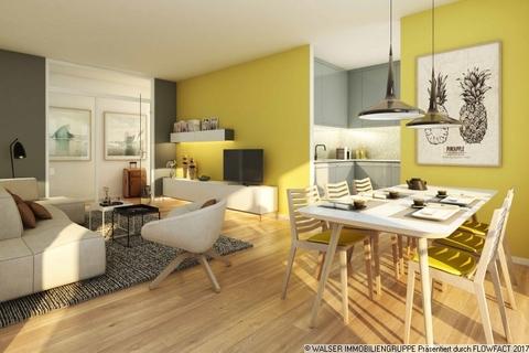 Beispielwohnzimmer mit Essecke Kompakte schnittige 2-Zimmer-Wohnung mit Loggia