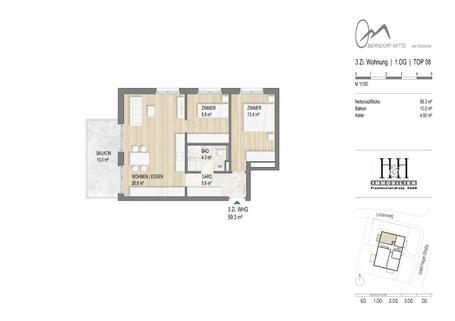 Grundriss Top 8 Gut aufgeteilte 3-Zimmer-Wohnung in Oberndorf