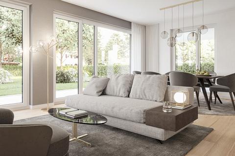 Wohnbereich mit Gartenzugang (Illustration) Erstbezug: Gartenwohnung mit 4 Zimmern und Hobbyraum