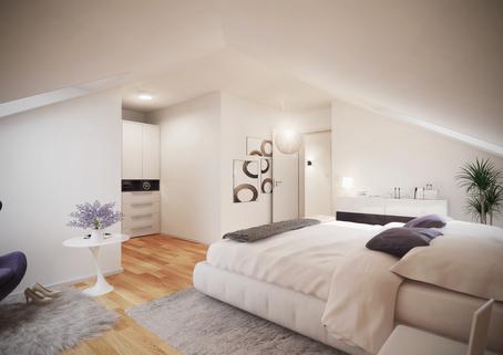 Schlafzimmer Neubau 2-Zimmer-Wohnung im DG