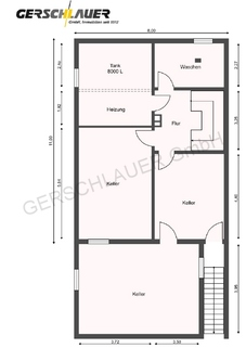 Grundriss Kellergeschoss Große Doppelhaushälfte in der Hammerschmiede