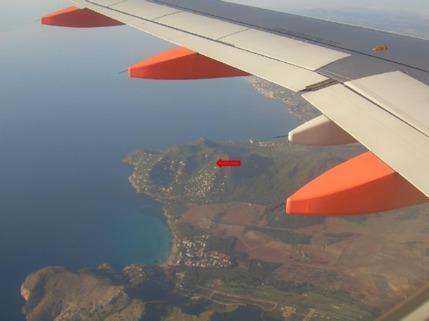 aus dem Flieger Mallorca, Costa Canyamel, Baugrundstück mit Traumblick auf die Bucht