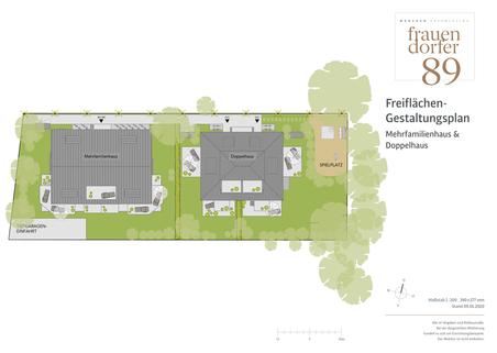 Freiflächengestaltungsplan Großzügiges Doppelhaus mit 5 Zimmern, Hobbybereich und Garten