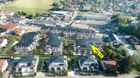 Visualisierung Luftbild Süden **NEUBAU** Attraktive, innovative PENTHOUSEWOHNUNG im Herzen des Chiemgaus! KfW 40+