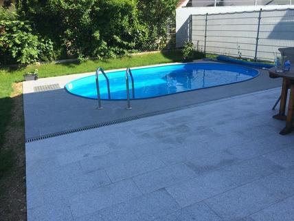 Terasse mit Pool Doppelhaushälfte Gunskirchen Sofort beziehbar Doppelhaushälfte neuwertig mit Pool und Garage
