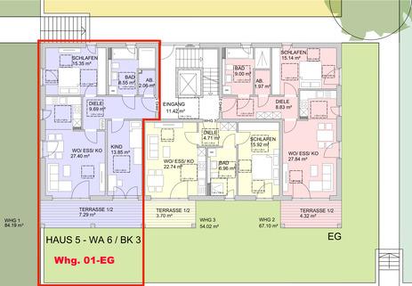 Grundriss EG Barrierefreie 3 Zimmer Neubau - Gartenwohnung