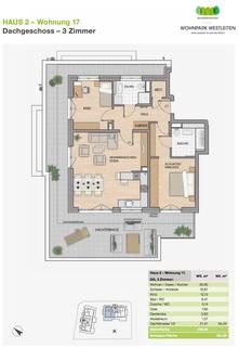 Grundriss Premium 3 Zi. DG-Wohnung mit ca. 109m² Wfl, grosser Dachterrasse und 2x TG-Platz. Nur 2 Min. zur A9.