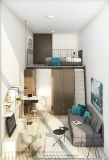 Apartment Illustration Außergewöhnliche 1,5 Zi.-Galerie-Whg. inkl. Möblierung