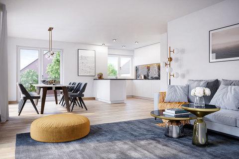 Wohn- und Essbereich (Illustration) Perfekt geschnittene 2-Zimmer-Gartenwohnung mit Hobbyraum