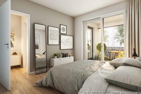 Tolles Schlafzimmer mit Balkon Gallusviertel: Kompakte und aussergewöhnliche 1,5-Zimmerwohnung mit Loggia