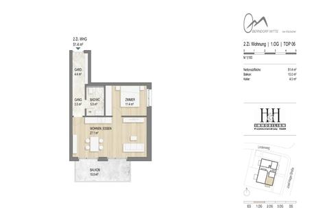 Grundriss Top 6 TOP 6: kompakte 2-Zimmer-Wohnung im 1.OG - WWW.OBERNDORFMITTE.AT
