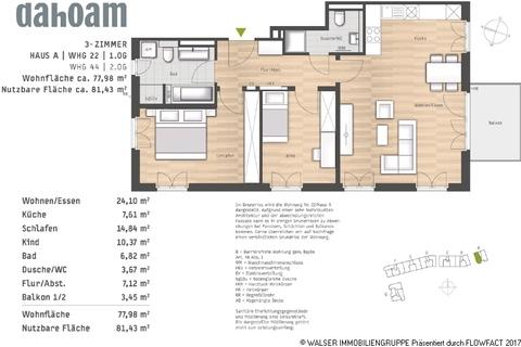 Grundriss-Haus A-WHG-22_44 Attraktive 3-Zimmerwohnung mit Blick ins Grüne - Fertigstellung bereits Ende diesen Jahres!