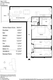 Grundriss 152 Einmalige Gelegenheit: Großzügige 4-Zimmer-Wohnung mit Westbalkon und zwei Bädern in Bogenhausen