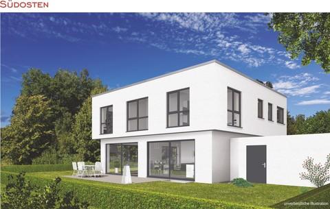 Süd-Ost-Ansicht Verkauft: Puristische Villa im BAUHAUS-Stil in OTTOBRUNN - aktuelles Angebot
