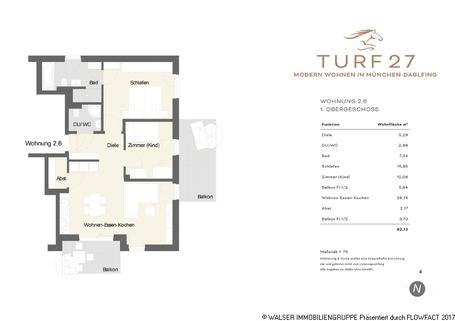 Grundriss Turf27 Whg 26 WALSER: Durchdachte 3-Zimmer-Wohnung mit großem Balkon