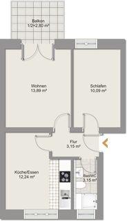 Grundriss Whg. 7_u Ruhig gelegene 2-Zimmer-Wohnung mit Balkon in Oberhausen