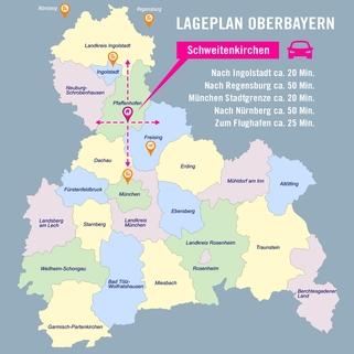 Infrastruktur Schweitenkirchen Premium 3 Zi. DG-Wohnung mit ca. 109m² Wfl, grosser Dachterrasse und 2x TG-Platz. Nur 2 Min. zur A9.