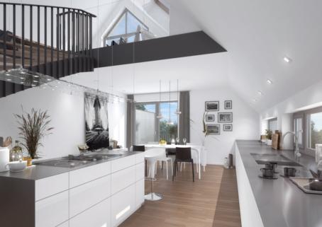 Ansicht Küche Wohnung 5 Superlative für modernes Wohnen! 3 Zimmer-Galeriewohnung, Terrasse, Arbeitszimmer, Tiefgarage, Lift