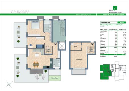 Grundriss Wohnung Nr. 2 Neubau in Vaterstetten: 3-Zimmerwohnung zzgl. Hobbyraum und Privatgarten