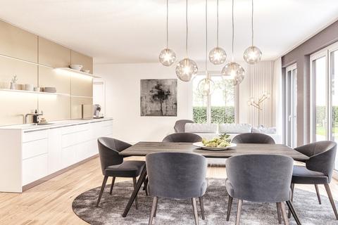 Wohn-/ Essbereich Gartenwohnung (Illustration) Neubau: Exklusiv ausgestattete 4-Zimmer-Wohnung mit zwei Balkonen