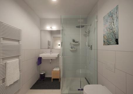 Duschbad Neubau 2-Zimmer-Wohnung im DG