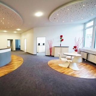 Eingang_Musterbüro1 Terrassen ... Begrünte Innenhöfe ... Schicke Büros ... Was will man mehr?