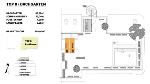 TOP 8 Dachgarten ON TOP OF VIENNA - Penthouse mit Infinity-Pool und Blick über ganz Wien!