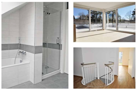 Ausstattungsmuster Premium 3 Zi. DG-Wohnung mit ca. 109m² Wfl, grosser Dachterrasse und 2x TG-Platz. Nur 2 Min. zur A9.