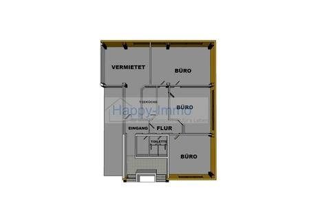 Grundriss 3 Zimmer Büro - Teeküche und 2 Toiletten, ca. 144 m²