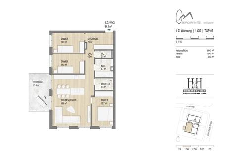 Grundriss Top 7 TOP 7: sonnige 4-Zimmer-Wohnung im 1.OG - WWW.OBERNDORFMITTE.AT
