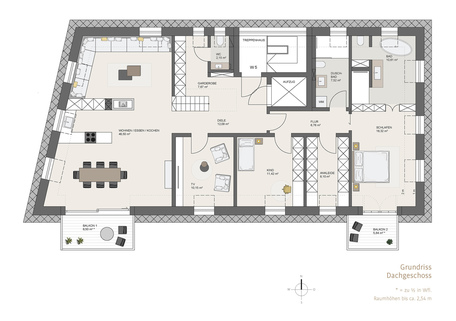 Grundriss Dachgeschoss Erstbezug: Penthouse mit Design-Interieur und Rooftop-Terrasse