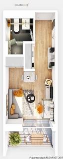 Grundriss Typ A Ausschnitt Modernes Studenten-Apartment zum grünen u. ruhigen Innenhof - ERSTBEZUG!!!