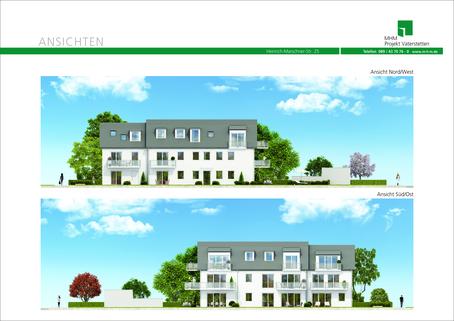 Hausansichten Neubau in Vaterstetten: 3-Zimmerwohnung zzgl. Hobbyraum und Privatgarten