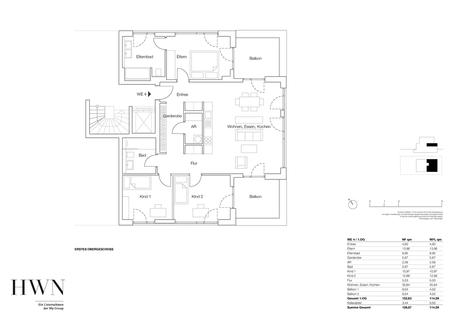 Etagenwohnung 03 Neubau: Hochwertig ausgestattete 4-Zimmer-Wohnung mit idealem Grundriss und Balkonen