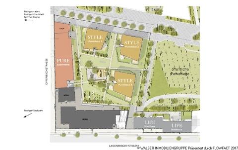 Paseo Carre Freiflächenplan Zentral und trotzdem ruhig: 3 Zimmer-Wohnung in Innenhoflage