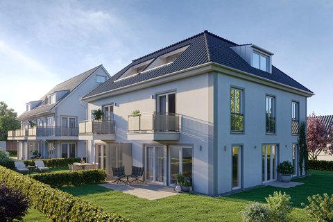 Gartenansicht (Illustration) Großzügiges Doppelhaus mit 5 Zimmern, Hobbybereich und Garten