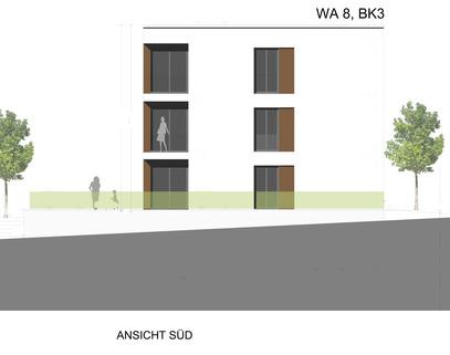 Ansicht Süd Barrierefreie 2 Zimmer Neubau - Wohnung mit Balkon
