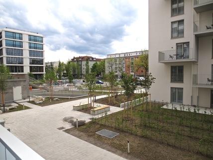 Blick vom Balkon **Leopold Carré am Schwabing Tor**Großzügig geschnittenes Appartement auf höchstem Niveau**Frei zum Selbstbezug**