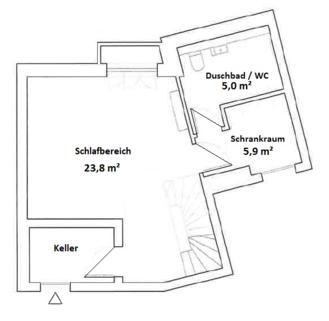 Grundriss Souterrain Eisbach-Privatzugang! Exklusive Erdgeschosswohnung über 2 Etagen (EG/UG)