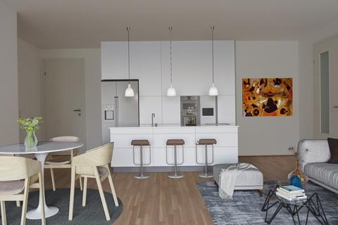 Visualisierung Wohn-Koch-Bereich Eleganter Minimalismus!<br /> <br /> 4-Zimmer-Gartenwohnung <br /> in modernem Architektur-Ensemble