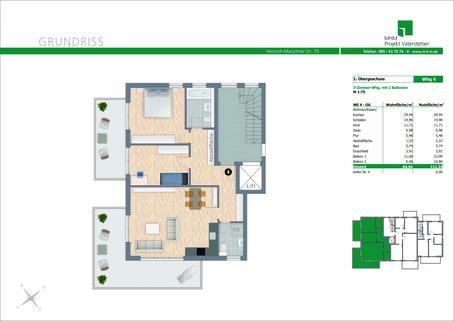 Grundriss Wohnung Nr. 4 Neubau in Vaterstetten: 3-Zimmerwohnung mit zwei großen Balkonen!
