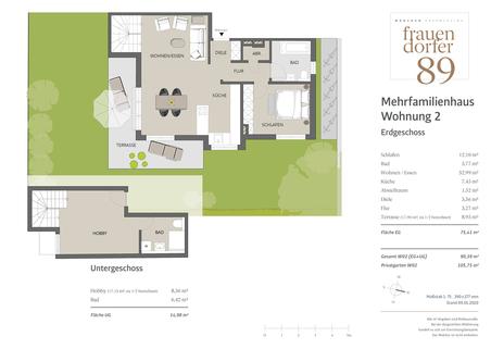 Erdgeschoss + Untergeschoss Sonnige 2-Zimmer-Gartenwohnung mit Hobbyraum