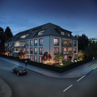 Ansicht 01 - Illustration Neubau - hochwertige EG-Wohnung mit Westterrasse und Garten