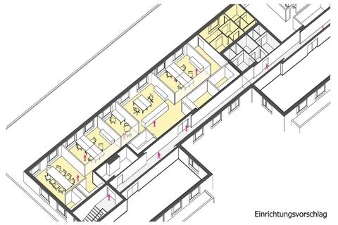 Einrichtungsvorschlag_A1_3D flexibel - innovativ - Ordination, Zellen- oder Großraumbüro!